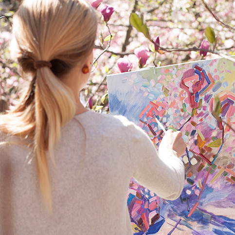 woman painting thanks to lyrica prescription