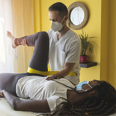 woman visiting physiotherapist